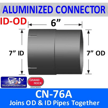 "7 inch Connector ID-OD Aluminized 6"" Long - CN-76A CUSTOM"