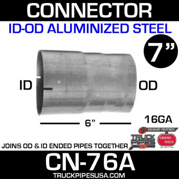 "7"" x 6"" Exhaust Connector ID-OD Aluminized CN-76A - SPECIAL ORDER"
