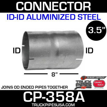 "3.5"" x 8"" Exhaust Coupler/Connector ID-ID Aluminized CN-358A"