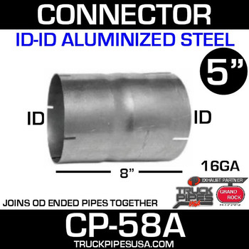 "5"" x 8"" Exhaust Coupler ID-ID Aluminized CP-58A"