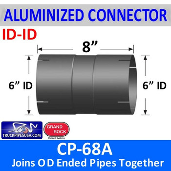 "6 inch Exhaust Coupler ID-ID Aluminized 8"" Long CP-68A"
