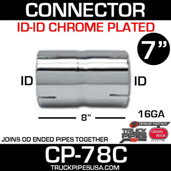 "7"" x 8"" Chrome Exhaust Coupler ID-ID CP-78C"