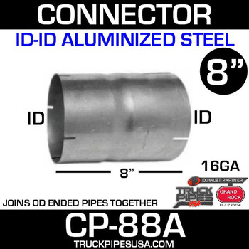 "8"" x 8"" Exhaust Coupler ID-ID Aluminized CP-88A"
