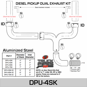 "4""' Universal Dual Stack Kit DPU-4SK With Clamps"