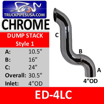 "4"" OD Chrome Dump Stack 90 A-10.5 B-16 C-24 OVERALL 30.5"