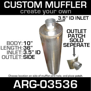 "10"" Universal Muffler 3.5"" ID End In and Out Muffler ARG-03536"