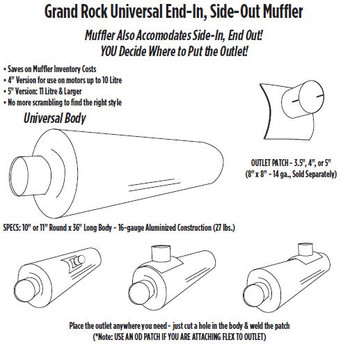 "ARG-0436OD-11 11"" Universal Muffler 4"" OD End In and Out Muffler ARG-0436OD-11"