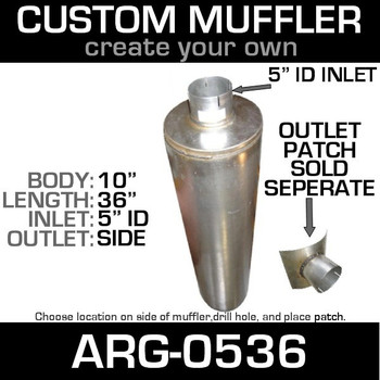 "10"" Universal Round 36"" Muffler with one 5"" ID ARG-0536"