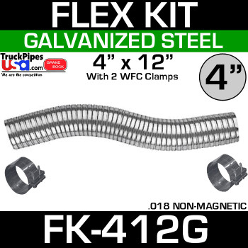 "4"" x 12"" Galvanized Flex Pipe Kit 2 Clamps Included FK-412G"