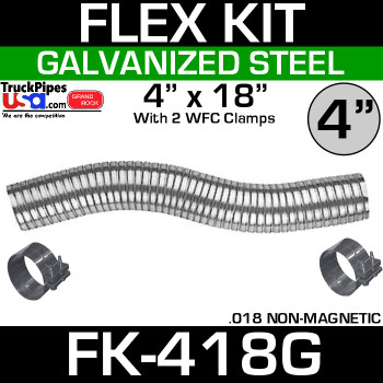 "4"" x 18"" Galvanized Flex Pipe Kit 2 Clamps Included FK-418G"