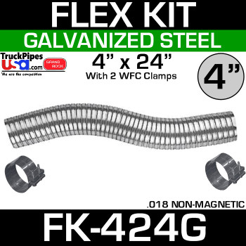 "4"" x 24"" Galvanized Flex Pipe Kit 2 Clamps Included FK-424G"