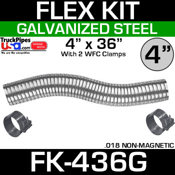 "4"" x 36"" Galvanized Flex Pipe Kit 2 Clamps Included FK-436G"