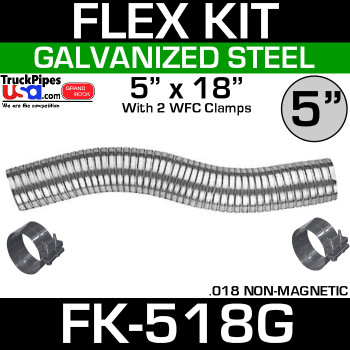 "5"" x 18"" Galvanized Flex-Pipe Kit 2 Clamps Included FK-518G"
