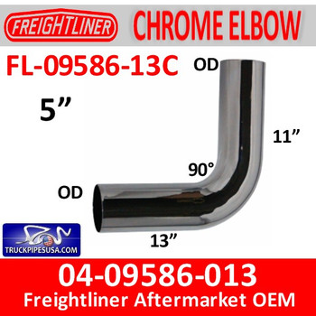 FL-09586-013C 04-09586-013 Freightliner 90 Deg Chrome Exhaust Elbow FL-09586-013C