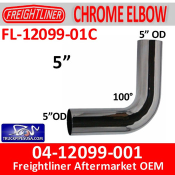 FL-12099-01C 04-12099-001 Freightliner 100 Degree Chrome Elbow FL-12099-01C