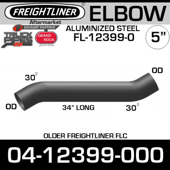 "04-12399-000 Freightliner 34"" Long 30 Deg Elbow FL-12399-0"
