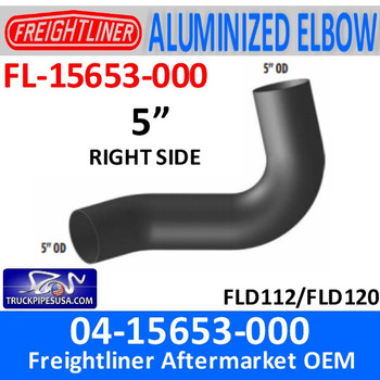 FL-15653-000 04-15653-000 Freightliner Aluminized Right Exhaust Elbow FL-15653-000
