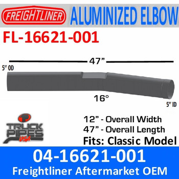 FL-16621-001 04-16621-001 Freightliner Classic Pipe Exhaust FL-16621-001