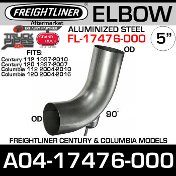 A04-17476-000 Freightliner Aluminized Bolt-on Elbow FL-17476-000