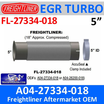 FL-27334-018 EBFL11879 or A04-27334-018 Freightliner Bellows Flex Pipe