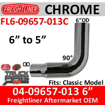 "Freightliner Classic Chrome Exhaust Elbow 6"" reduced to 5"""