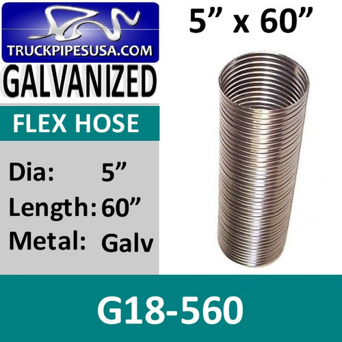 "5"" x 60"" .018 Galvanized Exhaust Flex Hose G18-560"
