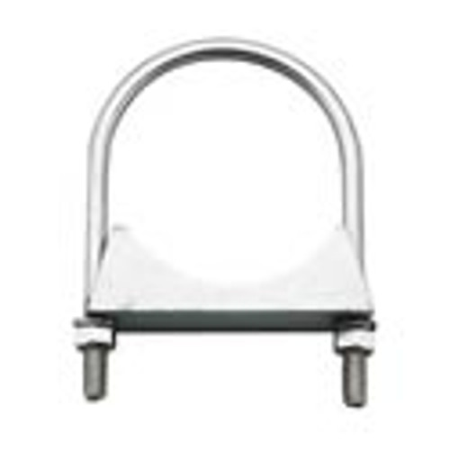 """3.5"""" Round Bolt Double Saddle Exhaust Clamp Zinc HD-35ZN"""