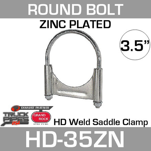 "3.5"" Round Bolt Double Saddle Exhaust Clamp Zinc HD-35ZN"