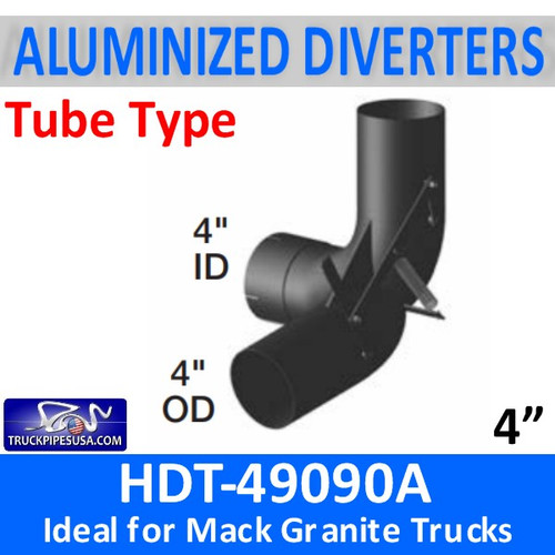 "HDT-49090A 4"" Mack Granite Heat Exhaust Diverter for Dump Bed"
