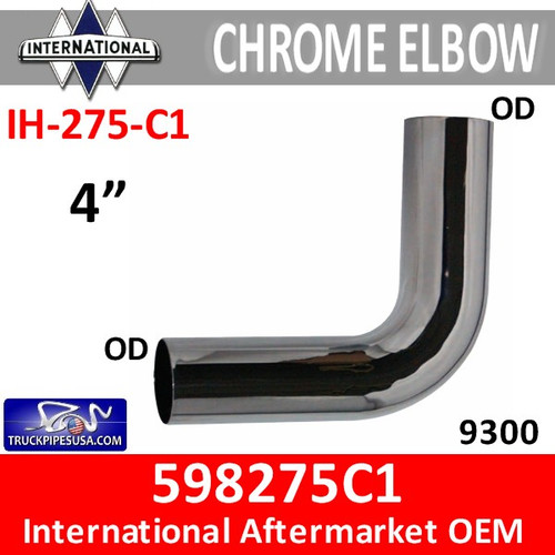 "598275C1 International Chrome 4"" Exhaust Elbow IH-275-C1"