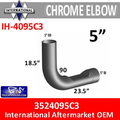 3524095C3 International Chrome Exhaust Elbow IH-4095C3