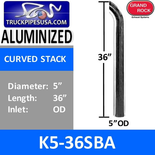 "5"" x 36"" Curved Top Aluminized Exhaust Stack OD End K5-36SBA"