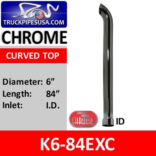 """6"""" x 84"""" Curved Chrome Stack with ID Bottom K6-84EXC"""