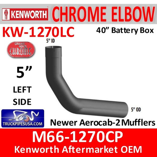 "M66-1270CP Kenworth Chrome Left 5"" Elbow for 40"" Steps"