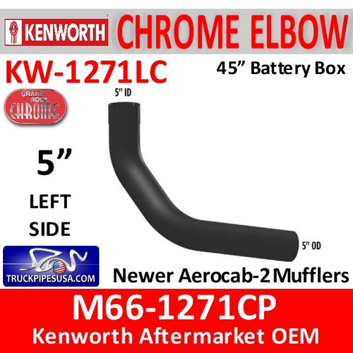 "M66-1271CP Kenworth Chrome Left Elbow for 45"" Steps"