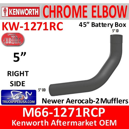 "M66-1271RCP Kenworth Chrome Right Elbow for 45"" Steps"