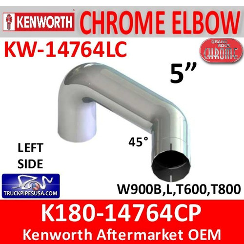 "K180-14764CP Kenworth Chrome 5"" Exhaust Left Elbow"