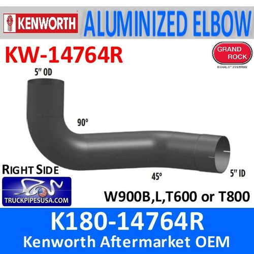 "K180-14764R Kenworth 5"" Aluminized Exhaust Right Elbow"