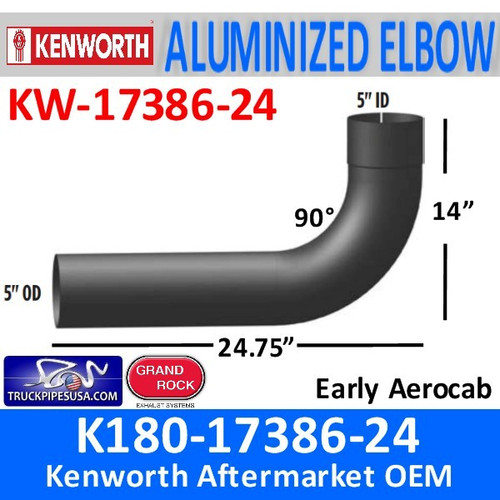 "K180-17386-24 Kenworth Exhaust 5"" 90 Elbow ID-OD Ends"