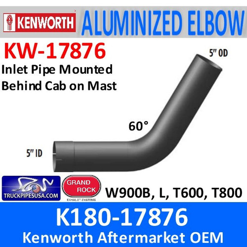 K180-17876 Kenworth Aluminized Exhaust Elbow 60 Degree