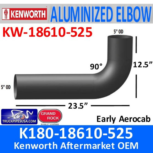"K180-18610-525 Kenworth Exhaust Elbow Long 90 degree 5"" x 31"""