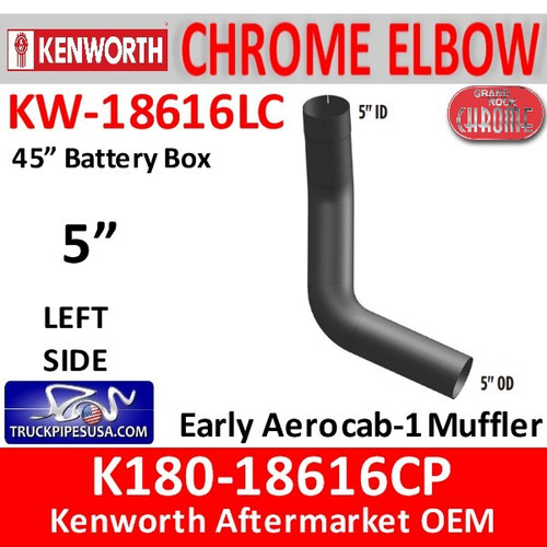 "K180-18616CP Kenworth Chrome Left 5"" Elbow for 45"" Steps"