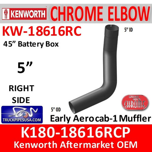 """K180-18616RCP Kenworth Chrome Right 5"""" Elbow for 45"""" Steps"""