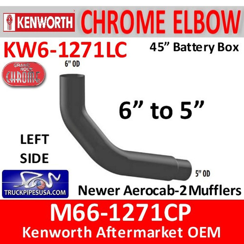 "M66-1271CP Kenworth Left Chrome Exhaust 6"" to 5"""