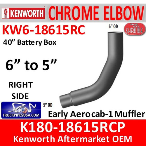 """K180-18615RCP Kenworth Right Chrome 6"""" to 5"""""""