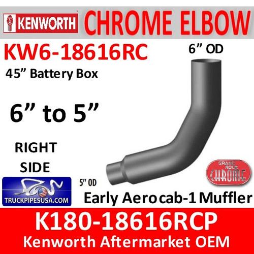 """K180-18616RCP Kenworth Right Chrome 6"""" to 5"""""""
