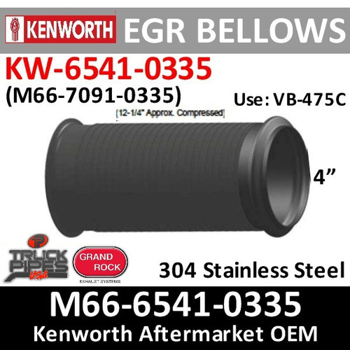 EBPB11862 or KW-6541-0335 Paccar Bellows EGR Exhaust