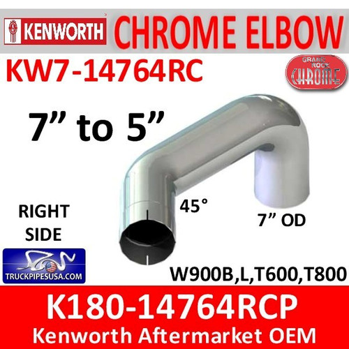 "7"" Kenworth Right Chrome Exhaust reduced to 5"" 14764"