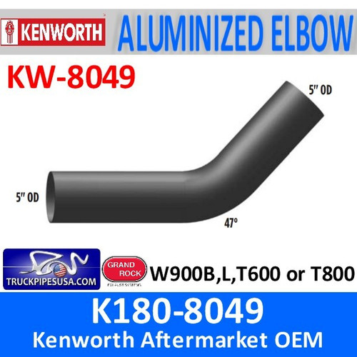"K180-8049 Kenworth Exhaust 5"" OD Elbow with 47 Degree Bend"