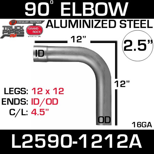 "2.5"" 90 Degree Exhaust Elbow 12"" x 12"" ID-OD Aluminized L2590-1212A"